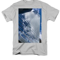 Glossy Glass Reflections - Skyscraper Geometry With Clouds - Right T-Shirt for Sale by Georgia Mizuleva