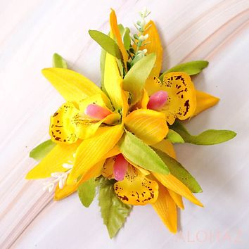 Yellow Orchid Burst Hawaiian Flower Hair Clip