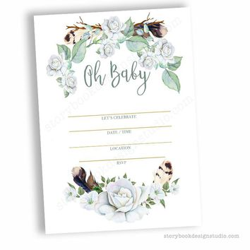 Green Boho Chic Baby Shower Fill In Invitations
