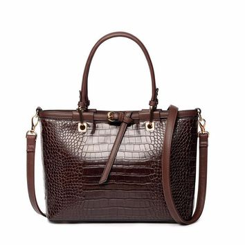 handbag  textured faux croco pu leather tote bag  vintage shoulder bag