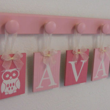 Owl Nursery Decor Art, Hanging Name Blocks Custom AVA with Owls with 5 Light Pink Knobs, Owl Home Decor Personalized Baby Nursery Wall Decor