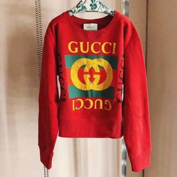 '' GUCCI ''Fashion Casual Long Sleeve HOT SALE Round neck letters printed long sleeve sweater G