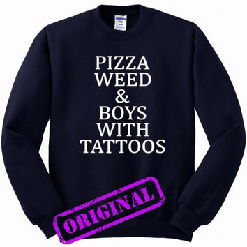 Pizza Weed and Boys with Tattoos for Sweater navy, Sweatshirt navy unisex adult