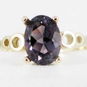 Alexandrite Oval 14k Yellow Gold Bubble Ring