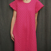 Hot Pink Short Sleeve Long Gown Cotton Waffle, Made In The USA | Simple Pleasures, Inc.