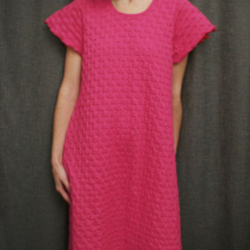 Hot Pink Short Sleeve Long Gown Cotton Waffle, Made In The USA   Simple Pleasures, Inc.