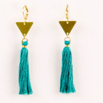 Triangle Tassel Earring- Turquoise