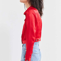UO Cropped Satin Trucker Jacket | Urban Outfitters