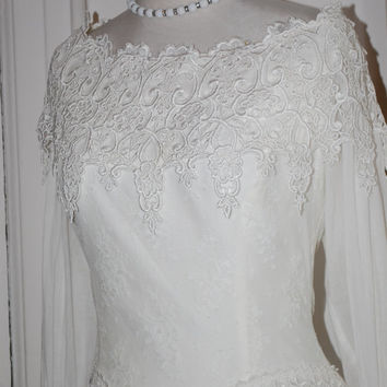 Vintage 70s Bridal Gown, Jessica McClintock, White Lace, Cotton, Wedding Dress, Bridal Gown, Size 10