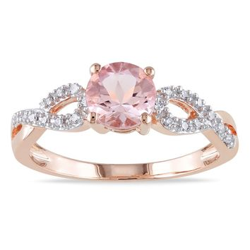 Miadora 10k Rose Gold Morganite and 1/10ct TDW Diamond Infinity Engagement Ring (G-H, I1-I2) | Overstock.com Shopping - The Best Deals on Gemstone Rings