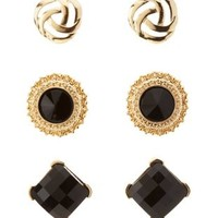 Black Baroque Stud Earrings - 3 Pack by Charlotte Russe