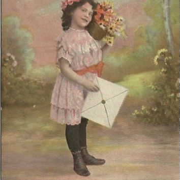 "Antique  Postcard ""Birthday Greetings"" Little Girl with Bouquet of Daisies and Large Card"
