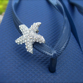 Starfish Crystal Shoe Clips-Beach Weddings, Bridal Shoe Clips, Summer Beach, Flip Flops, Mermaids, Destination Wedding, Nautical
