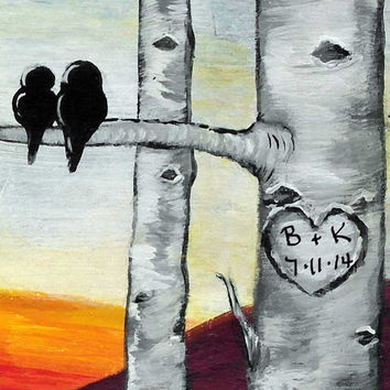 Personalized Wedding Gift Wood Aspen Trees Painting Bird Love Birds Painting Personalized Anniversary Gift for Couple  Birch Tree Paintings
