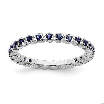 Sterling Silver Stackable Expressions Blue Sapphire Eternity Ring