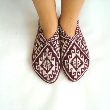 womens Slippers Maroon / burgundy and White cream Hand knit Turkish Slippers Socks christmas gift for women for her for womens size 9 10