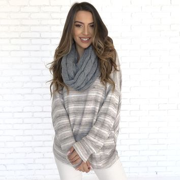 Cozy Knit Infinity Scarf in Grey