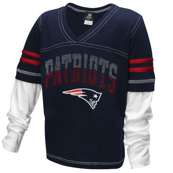 New England Patriots Youth Girls Twofer Sleeve Stripes Baby Jersey V-Neck T-Shirt - Navy Blue - http://www.shareasale.com/m-pr.cfm?merchantID=7124&userID=1042934&productID=522278235 / New England Patriots