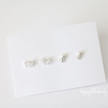 Dog & Bone Earring Set, Dog Stud Earrings, Dog Earrings, Puppy Earrings, Bone Earrings, Tiny Stud Earrings, Small Earrings, Tiny Earrings