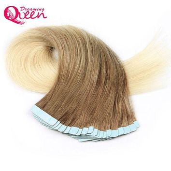 LMF78W #8/613 Color Tape In Human Hair Extensions 100% Remy Hair Brazilian Straight Hair 50g 20pcs/Set Skin Weft  Dreaming Queen Hair
