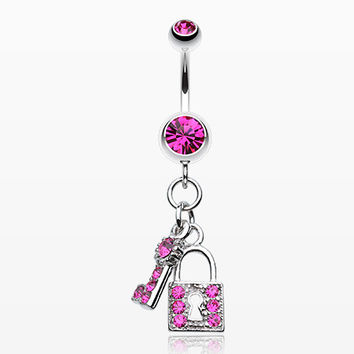 Glistening Lock and Key Belly Button Ring