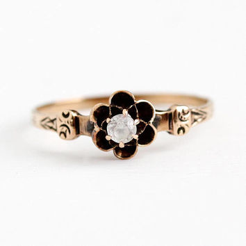Antique Engagement Ring - 10k Rose Gold Created White Sapphire - Vintage Size 7 1/2 Alternative Stone Buttercup Flower BBB Fine Jewelry