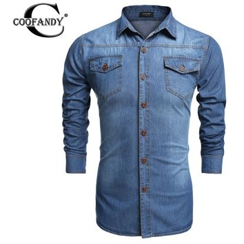 COOFANDY Denim Men's Casual Long Sleeve Slim Plus Size Shirt