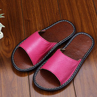 5 Colors Handmade Leather Slippers for Women open Toe,  Anti slip indoor slippers,Simple and comfortable leather Slippers,retro slippers