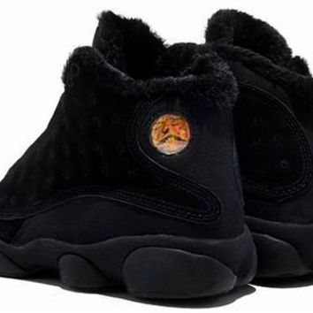 Cheap Air Jordan 13 Men Shoes Suede Pure Black