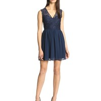 Glamorous Women's Lace Detail Top Fit and Flare Dress, Navy, Large