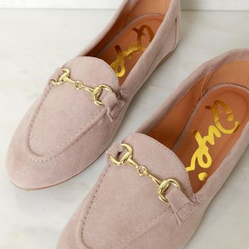 Suede Buckle Flat Taupe