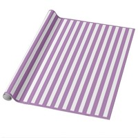 Purple and White stripes Glossy Wrapping Paper