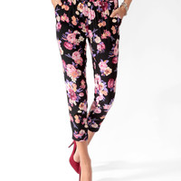 Cuffed Floral Print Pants
