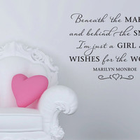 """Wall Vinyl Quote - Beneath the Makeup - Marilyn Monroe Quote (30"""" x 22"""")"""