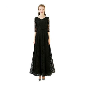 Black Popular Three Quarter Sleeve V-Neck Evening Gown Floor Length Lace Up Simple Pattern Bow Evening Dresses