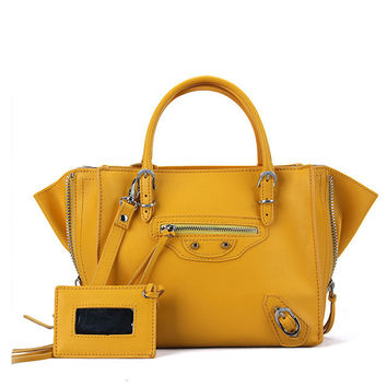 Zipper Closure Winged Tote with Shoulder Strap
