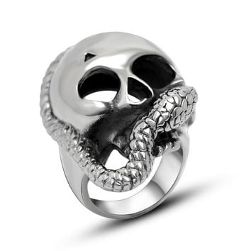 Jewelry Gift New Arrival Shiny Stylish Strong Character Skull Men Titanium Punk Accessory Ring [6526801347]