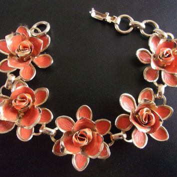 Orange Enamel Flower CORO Bracelet, Gold Trim, Vintage