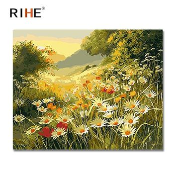 RIHE Daisy Flowers Diy Painting By Numbers Brushwood Oil Painting Cuadros Decoracion Acrylic Paint On Canvas Modern Wall Art
