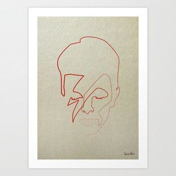 One Line David Bowie Art Print By Quibe
