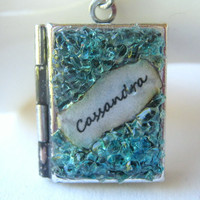Custom Locket Personalized Necklace Aquamarine Gemstone Antiqued Silver Birthstone Jewelry Small Book Stained Glass Crystal Pendant