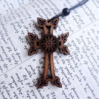 Hand made Armenian Cross Pendant Chain Handmade Wood Cross Necklace Religious Jewelry Armenia Hand Made Handcrafted Woman Necklace