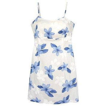 delight blue hawaiian spaghetti dress
