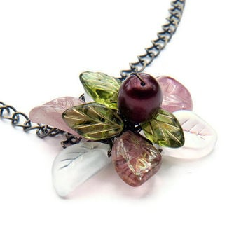 Burgundy Flower Necklace,  Leaf Necklace, Pendant Necklace, Nature Jewelry,