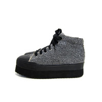 Vintage PLATFORM Sneakers. Sweater tennis shoes. Lace up chunky boots. Grunge Punk Skater Steampunk. Grey Gray Black Soft Fuzzy. women's 8.5