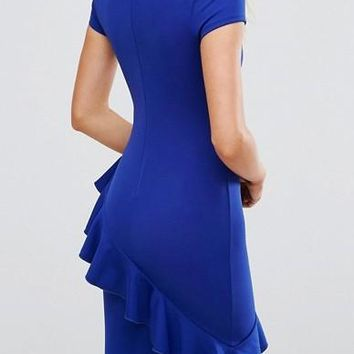 Royal Blue Ruffle Irregular Bodycon Las Vegas Short Sleeve Homecoming Party Mini Dress