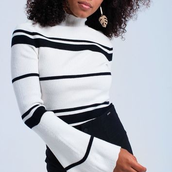 Black striped white sweater