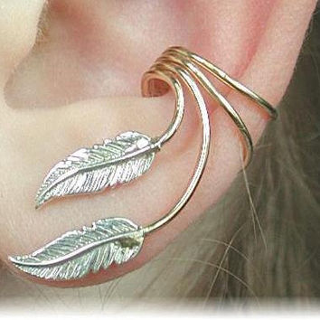 Ear Cuff  Graceful Feathers   Sterling Silver by ChapmanJewelry