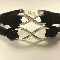 His and Hers Infinity Bracelets, Genuine Suede Leather Couples Bracelets, Matching Bracelets - Made in USA