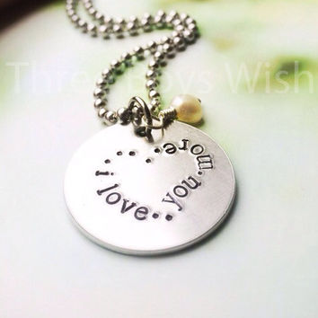 I Love You More for Her and Him, Wedding, Engagement - Custom Hand Stamped Necklace